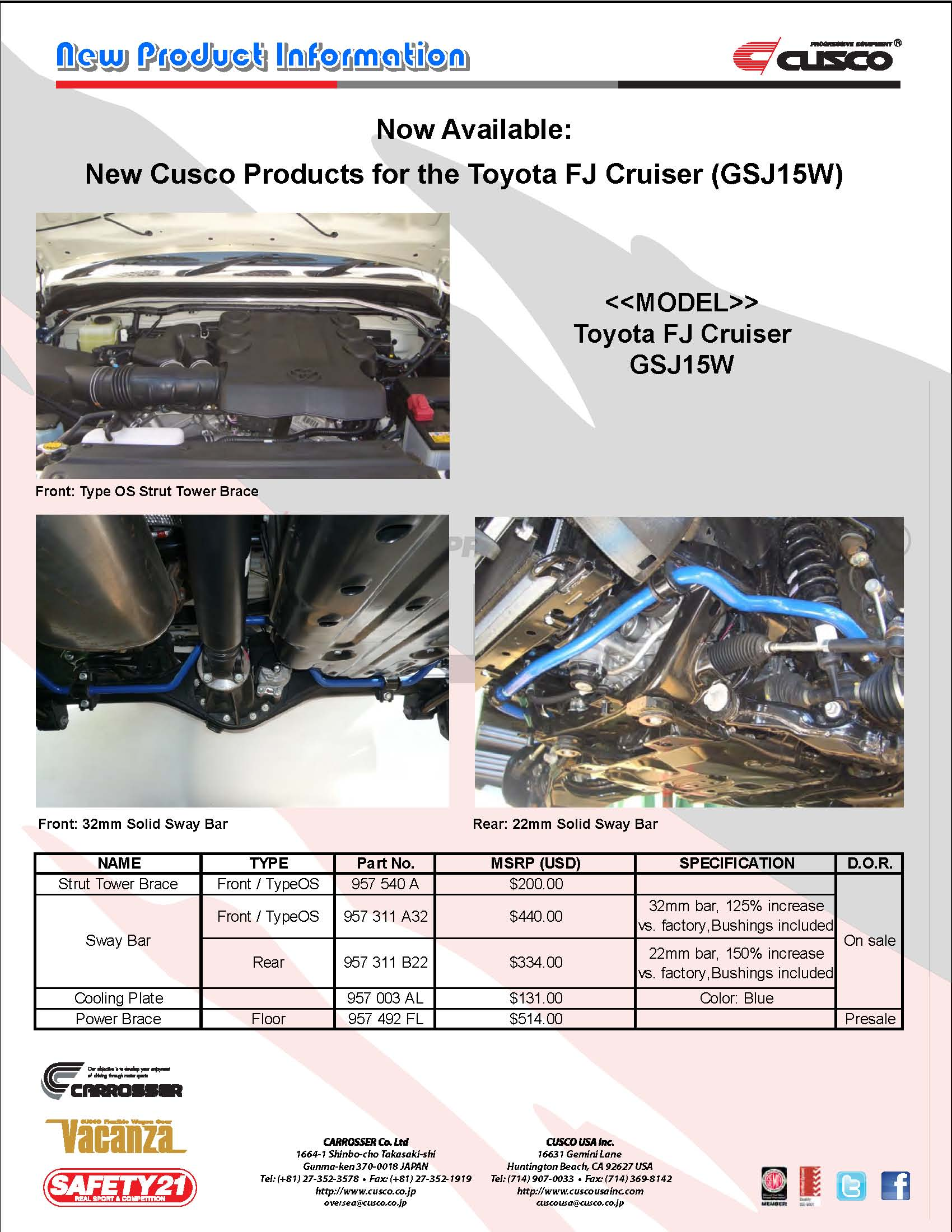 New Products for the Toyota FJ Cruiser (GSJ15W)