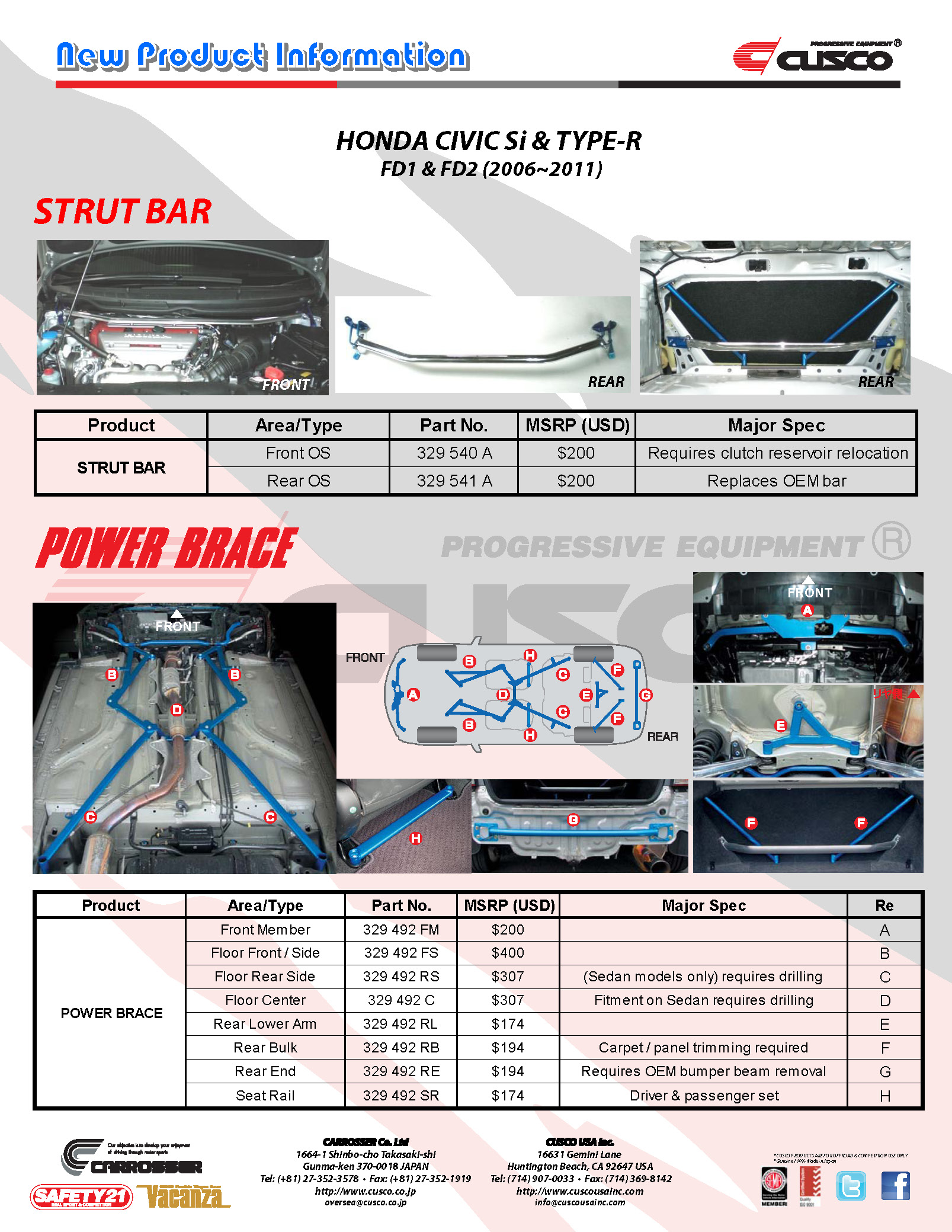 Honda Civic Si & Type-R FD1 / FD2 Chassis Products