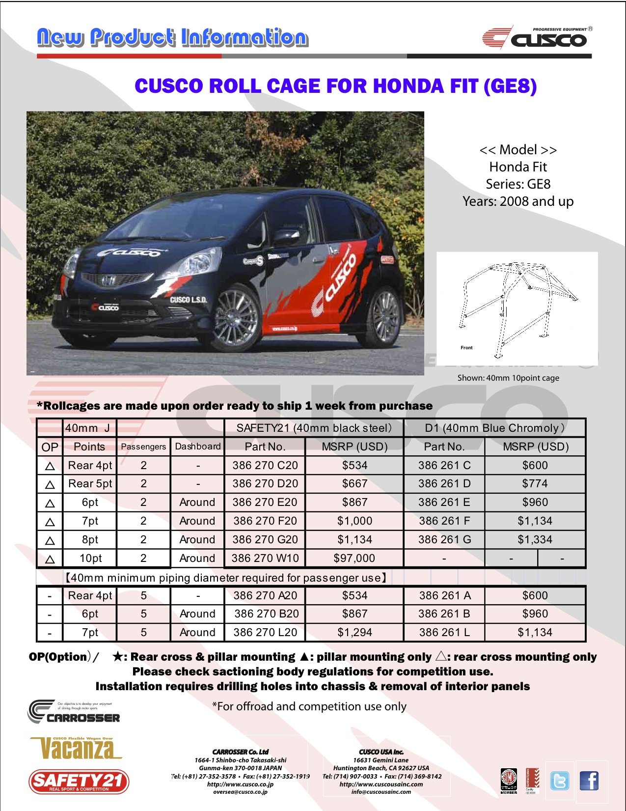 CUSCO Rollcage For Honda Fit GE8 News PRODUCTS English Page