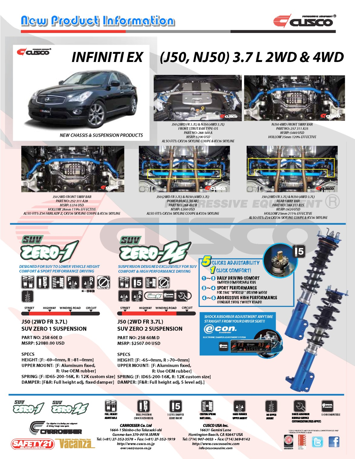 New Products for the Infiniti EX (Skyline Crossover J50 NJ50)